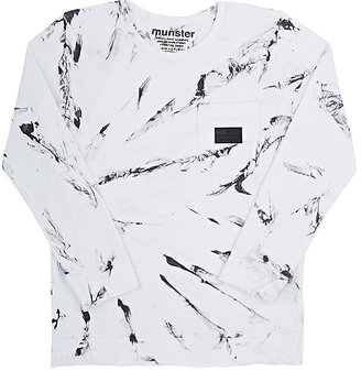 Munster Kids Marble-Print Jersey Long-Sleeve T-Shirt-WHITE $29 thestylecure.com