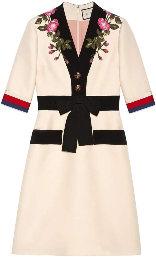 GucciEmbroidered wool silk dress