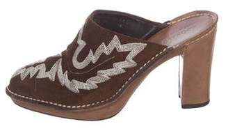 Donald J Pliner Embroidered Suede Mules