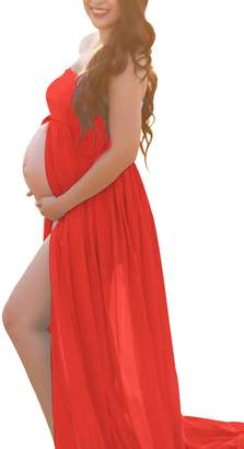 Mommy Jennie Red Maternity Off Shoulder Tube Chiffon Gown Split Front Strapless Maxi Pregnancy Photography Dress for Photo Shoot and Baby Shower