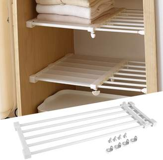 Estink Adjustable Telescopic Storage Rack Cupboard Wardrobe Closet Divider Partition Shelf