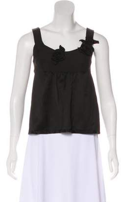 Rebecca Taylor Linen-Blend Rosette-Accented Top