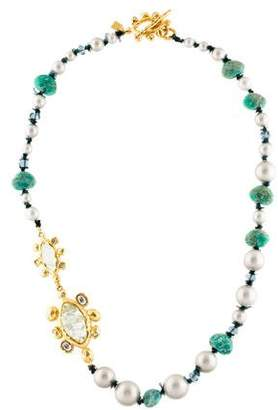 Alexis Bittar Faux Pearl & Amazonite Bead Strand Necklace