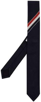 Thom Browne blue, white and red web band detail wool tie