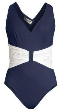 Chiara Boni Claudy Gathered-Waist One-Piece Swimsuit
