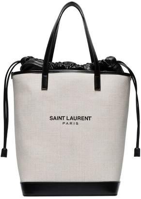 Saint Laurent white and black Teddy canvas bag