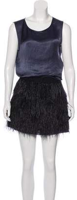 Theory Ostrich Feather-Accented Dress