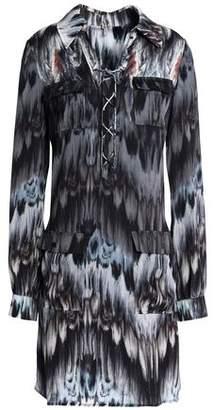 Haute Hippie Lace-Up Printed Crepe De Chine Mini Shirt Dress