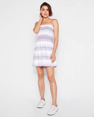 Express Striped Strapless Smocked Bodice Fit And Flare Dress