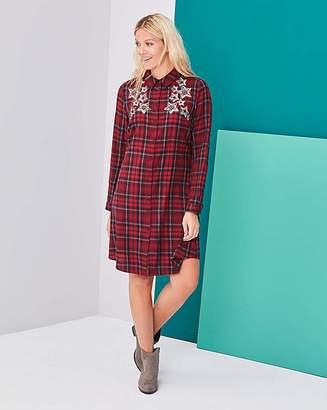 Fashion World Check Swing Embellished Shirt Dress
