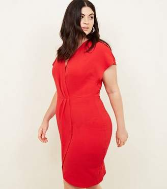 Yumi Curves Red Wrap Front Dress