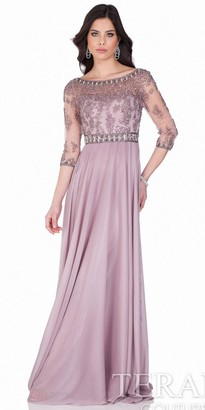 Terani Couture Intricate Beaded Illusion Chiffon Evening Dress $649 thestylecure.com