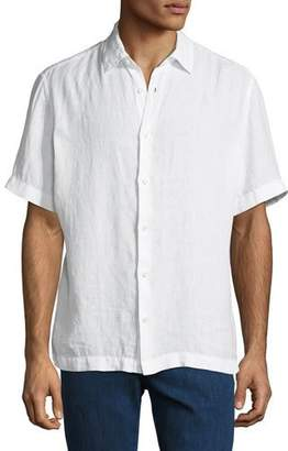 Z Zegna Men's Short-Sleeve Linen Sport Shirt