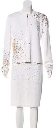 St. John Embellished Wool-Blend Skirt Set