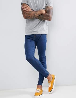 Bershka Super Skinny Jeans In Mid Blue