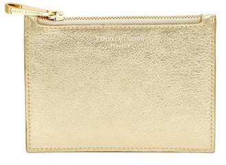 Aspinal of London Small Essential Flat Pouch In Pale Gold Pebble