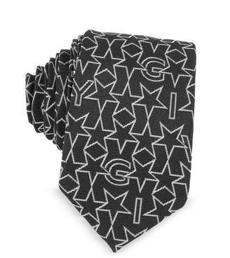 Givenchy Black Silk Narrow Tie w/Silver Woven Stars