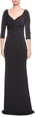 La Femme Ruched Jersey Evening Dress