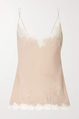 Carine Gilson Chantilly Lace-trimmed Silk-georgette Camisole - Neutral