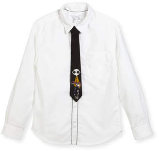 Little Marc Jacobs Long-Sleeve Oxford Shirt w/ Mister Marc Tie, Size 6-10