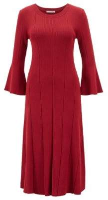 BOSS Hugo Slim-fit dress ribbed structure & flared sleeves S Dark Red
