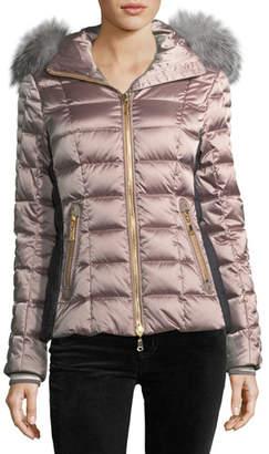 Bogner Sport Lena Hooded Shiny Quilted Puffer Coat w/ Fur Trim
