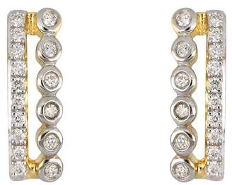 Bony Levy 18K Yellow & White Gold Pave & Bezel Set Diamond Bar Stud Earrings - 0.10 ctw