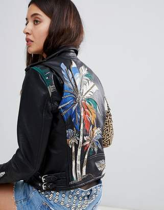 Blank NYC painted biker jacket