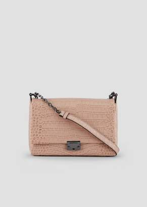Emporio Armani Croc Print Leather Crossbody Bag