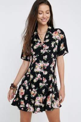 Urban Renewal Vintage Inspired By Vintage Black Rose Tea Dress - black XS at Urban Outfitters