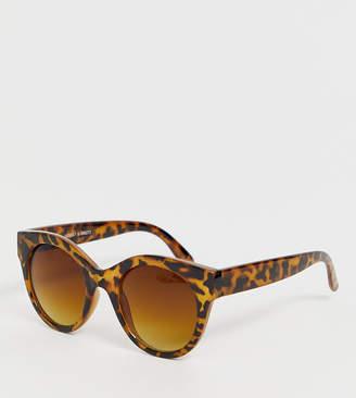 Monki round cat eye oversized sunglasses in tortoise