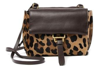 Aquatalia Mini Leopard Printed & Genuine Calf Hair Trimmed Crossbody Bag