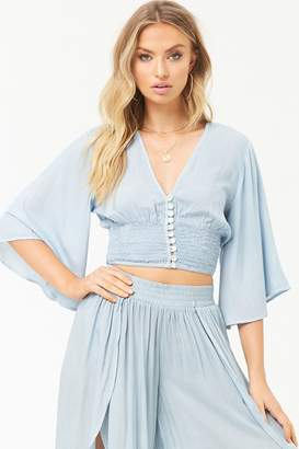 Forever 21 Boho Me Bell-Sleeve Crop Top