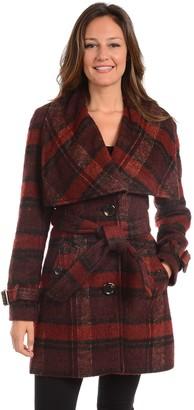 Fleet Street Women's Plaid Wool Blend Coat