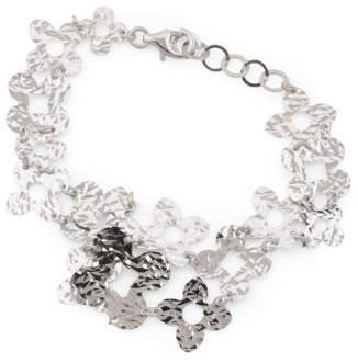 Made In Italy Sterling Silver Diamond Cut Flower Bracelet
