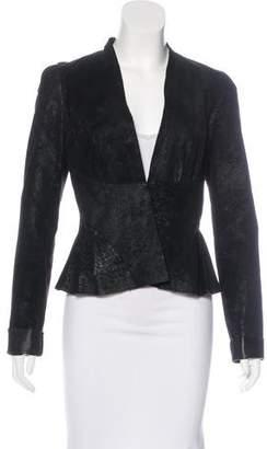 L'Agence Leather V-Neck Jacket