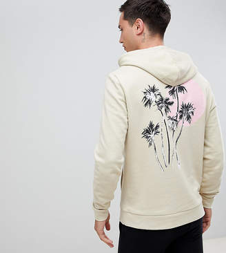 Asos Design DESIGN tall hoodie with palm tree print