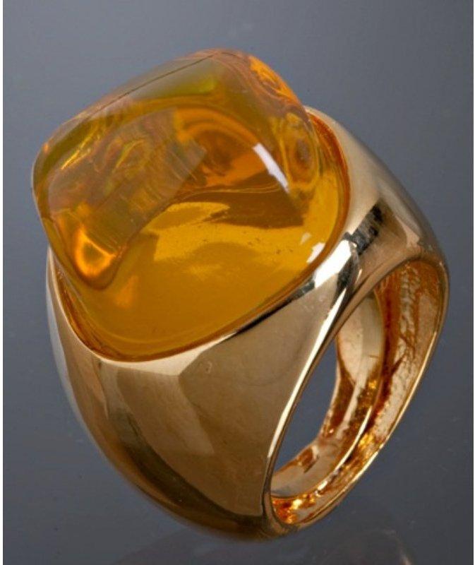 Kenneth Jay Lane amber resin stone cocktail ring