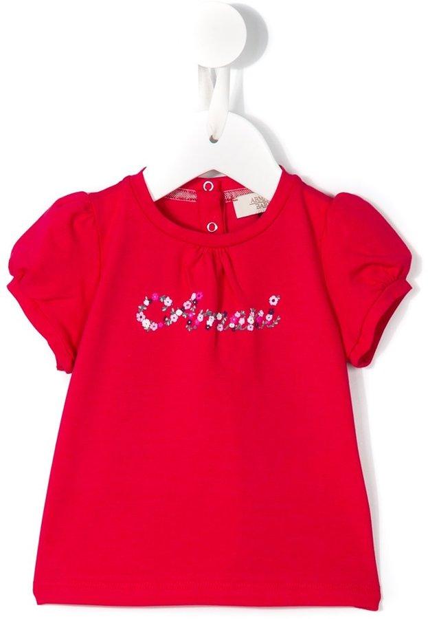 Armani JuniorArmani Junior floral logo print T-shirt