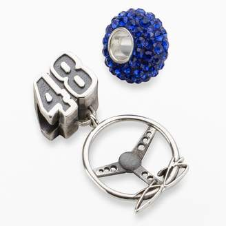 """Insignia Collection NASCAR Jimmie Johnson Sterling Silver """"48"""" Steering Wheel Charm & Bead Set"""