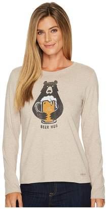 Life is Good Beer Hug Long Sleeve Crusher Tee Women's Long Sleeve Pullover