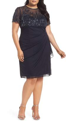 Xscape Evenings Beaded Bodice Ruched Sheath Dress