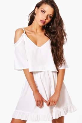 boohoo Indi Frill Cold Shoulder Crop & Skirt Co-Ord Set