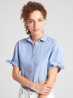 Gap Short Tie-Sleeve Gingham Shirt in Poplin
