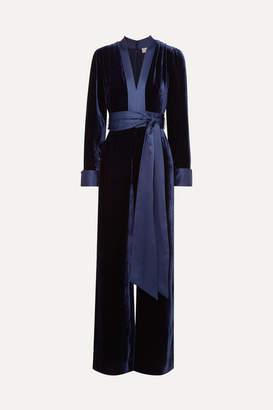 Diane von Furstenberg Satin-trimmed Velvet Jumpsuit - Navy