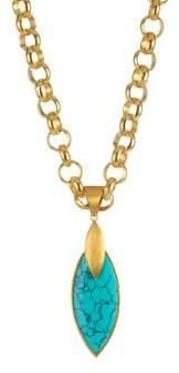 Dean Davidson Lotus 22K Goldplated& Turquoise Pendant Necklace