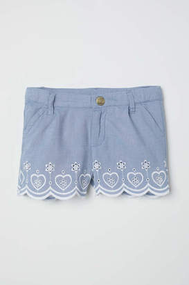 H&M Embroidered Cotton Shorts - Blue - Kids