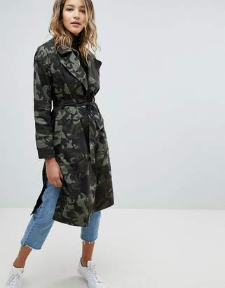 Missguided Camo Belted Coat