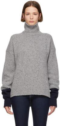 ALEXACHUNG Grey and Navy Tweed Turtleneck