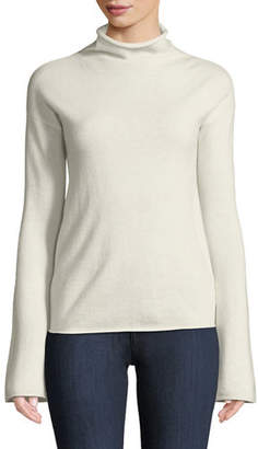 Theory Bell-Sleeve Mock-Neck Cashmere Sweater